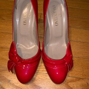 Cherry Red Patent Leather Valentino Pumps